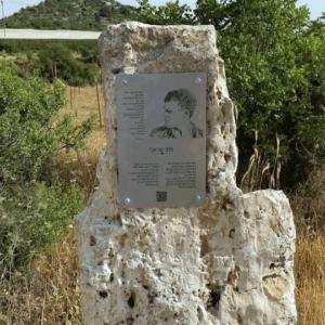 שלט הנצחה נירוסטה על אבן